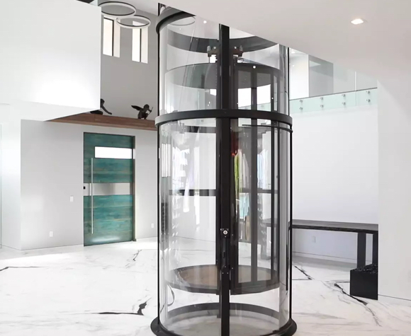 Vuelift-round-home-elevator-descends-to-luxury-foyer